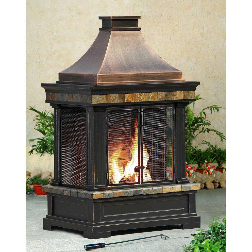 Sunjoy Brownston Steel Wood Outdoor Fireplace Outdoor Fireplace Portable Fireplace Wood Patio
