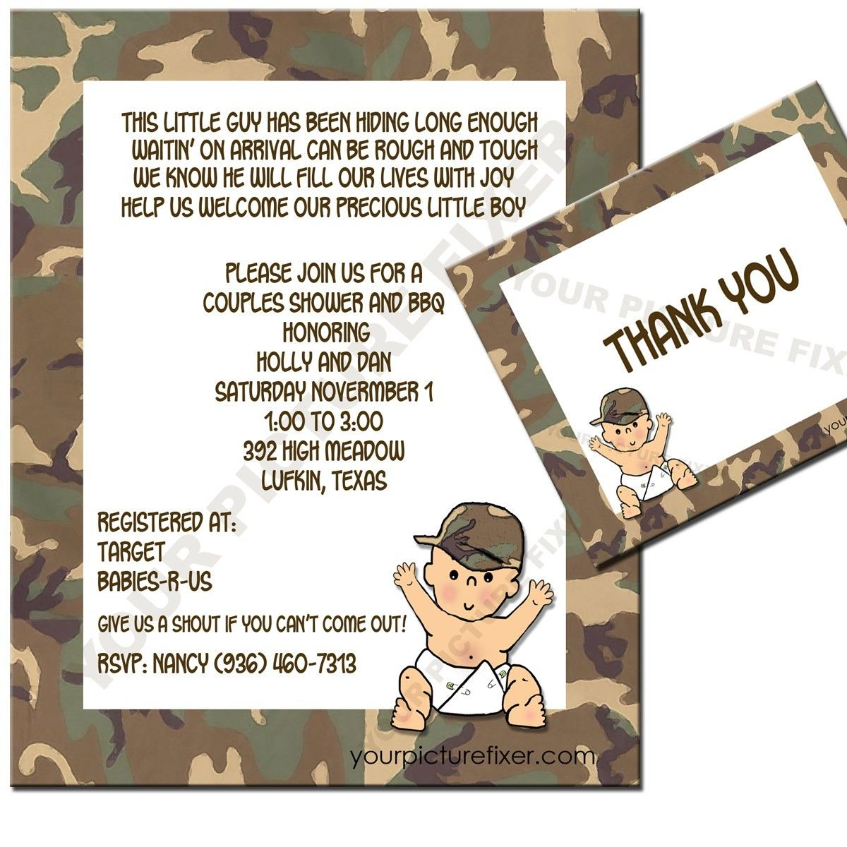 Camouflage Baby Shower Invitations | Baby Shower Invitation Ideas ...