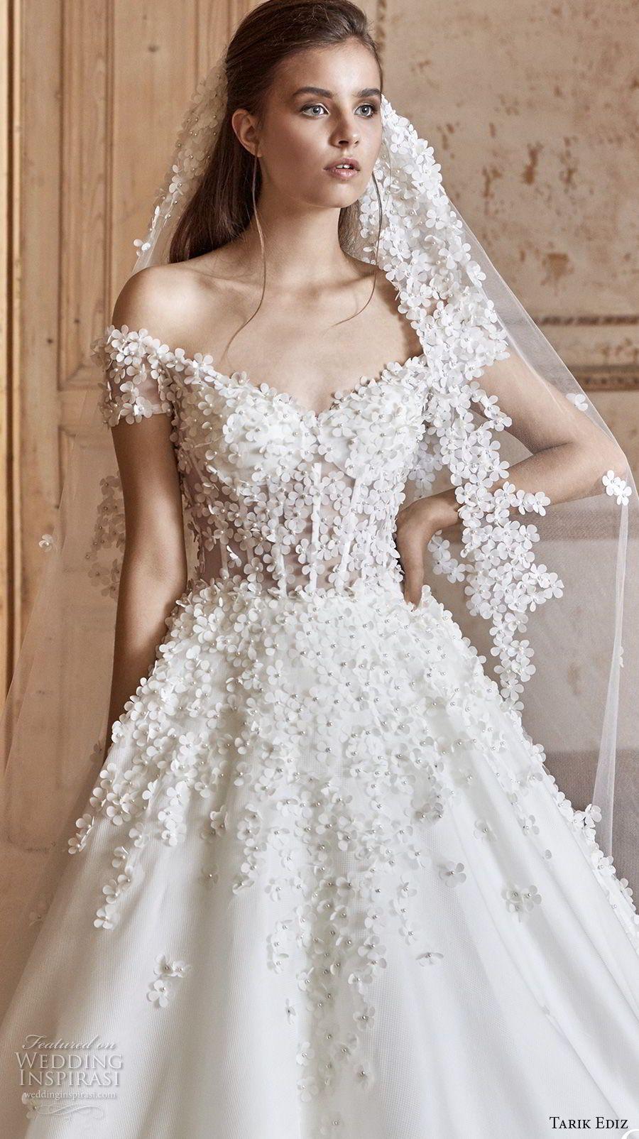 bb13eb5fc tarik ediz 2017 bridal off the shoulder sweetheart neckline heavily  embellished bodice romantic princess a line wedding dress (5) zv