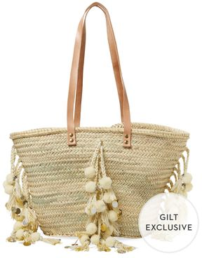Tote Double Flat Top Handles Tassel Accents Unlined Interior With One Pocket Open Measurements Body Length Width Drop Handle Brand Gie