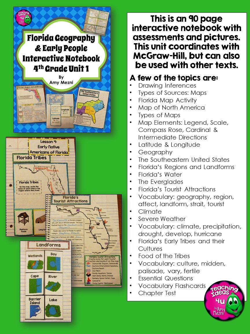 Florida Geography & Early People Interactive Notebook 4th Grade ...