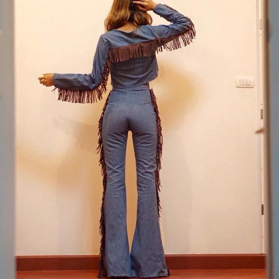 Women's Long Sleeve Denim Crop top /along side bod