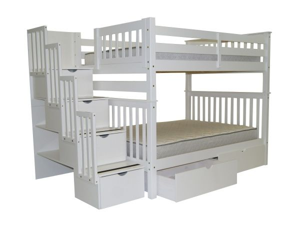 Bunk Beds Full Over Full Stairway White 2 Extra Drawers