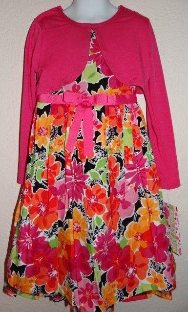 GIRL'S ASHLEY ANN TROPICAL CARDI 2 PIECE DRESS NWT MSRP $54.00 SZ: 4, 5, 6,& 6X #AshleyAnn #DressyEveryday