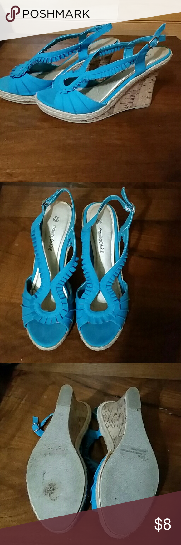 Charming Charlie Size 8.5  Teal Wedges Teal colored wedges. Worn 3 times. Excellent condition! Charming Charlie Shoes Wedges