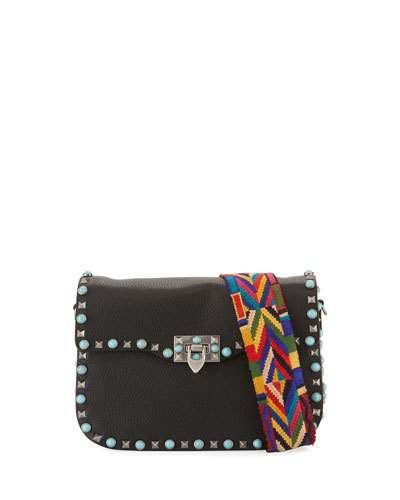 Rockstud Spike Medium Shoulder Bag in Black and Ruthenium Split Lamb Leather Valentino HW6iHu3fq