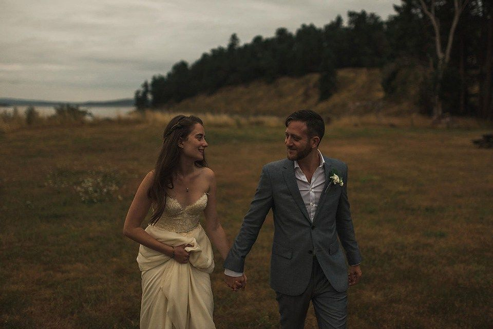 A Sarah Seven dress for a beautifully natural wedding in British Columbia. Images by Nordica Photography.