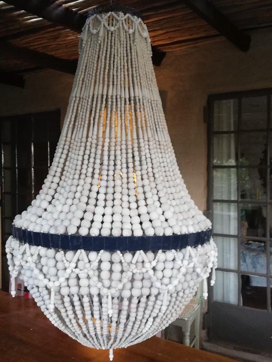 Wooden bead chandelier. Wooden bead chandelier, Beaded