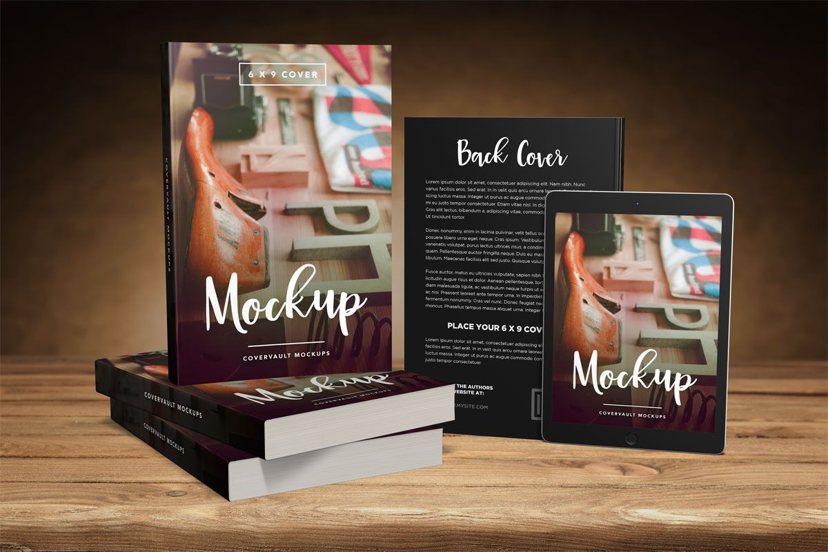 Big 6 X 9 Book Promo Mockup With Tablet Mockup Books