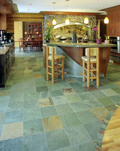 Kitchen Floor Transitions: Slate Floor And Backsplash Tile (nice Transition From