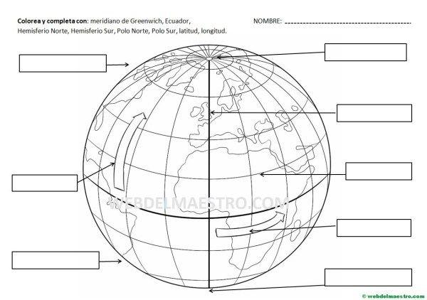 Lineas De La Tierra Meridianos Y Paralelos Actividades Atividades De Geografia Coordenadas Geográficas Ensino De Geografia