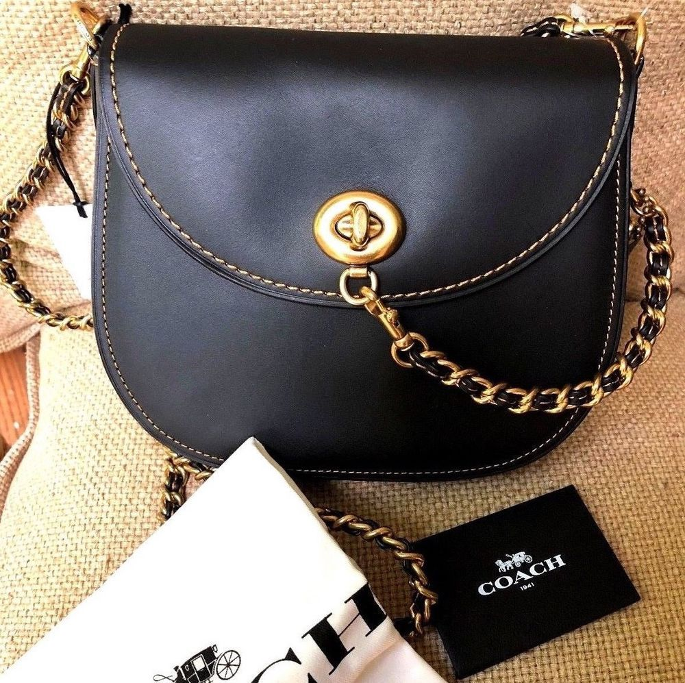 Coach 1941 Black Leather Crossbody Bag New With Tags Retail 500 Ysl Woc 19 Cm Nude Ghw