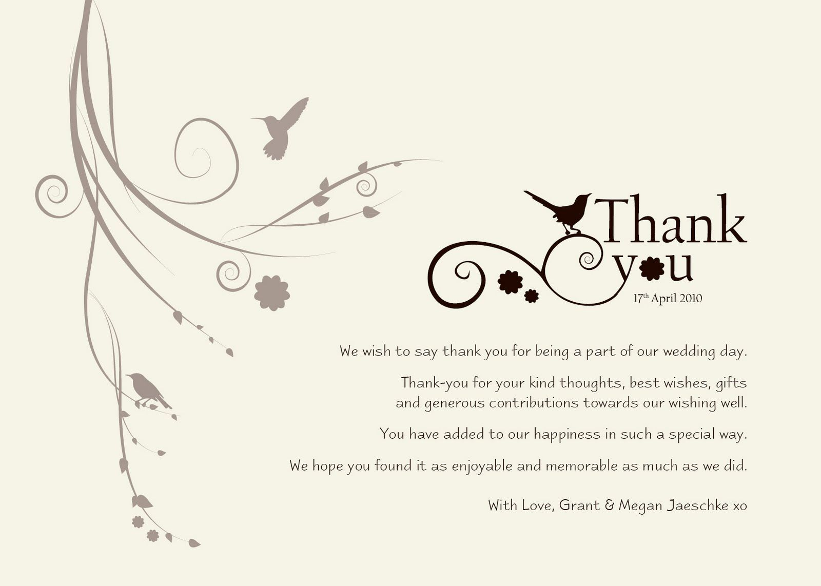 Wedding Thank You Templates Free – What to Write in Wedding Thank You Cards Sample