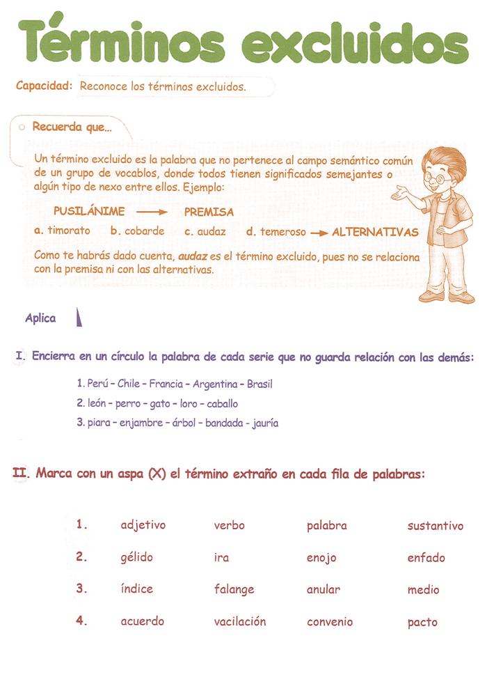 Razonamiento Verbal Cuarto Grado Primaria Término Excluido Recuerda ...