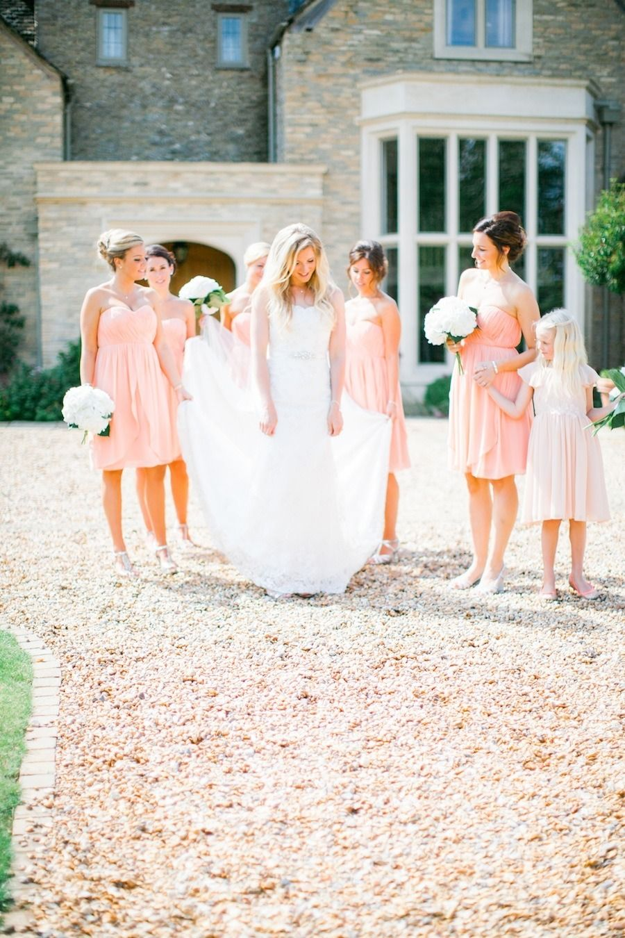 Blush Pink Bridesmaid Dresses With Simple White Wedding Flowers