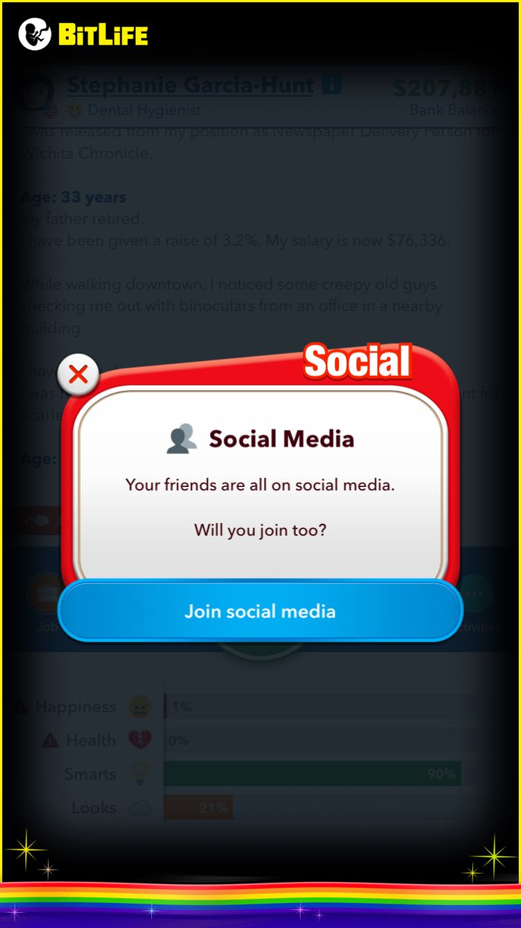 You Would Love This Addicting Life Simulator Game I Am Playing Called Bitlife Www Bitlifeapp Com Creepy Guy Dental Hygienist Hygienist