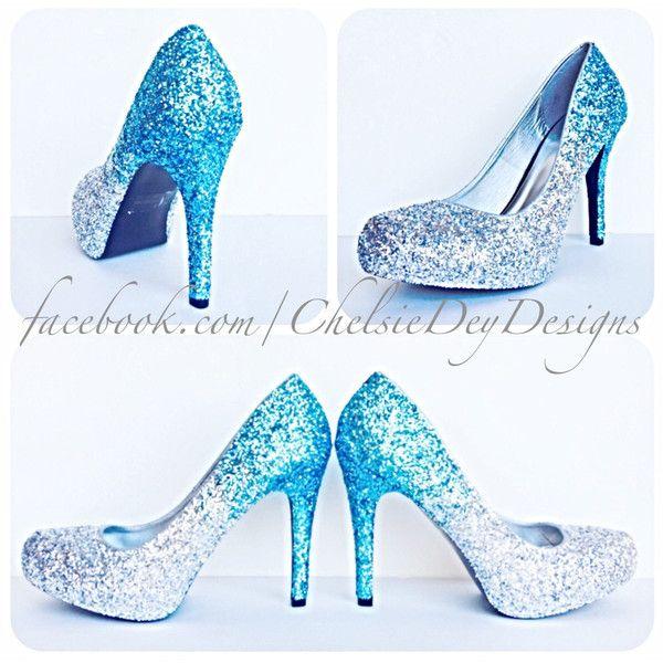 glitter high heels blue silver grey gray pumps aqua