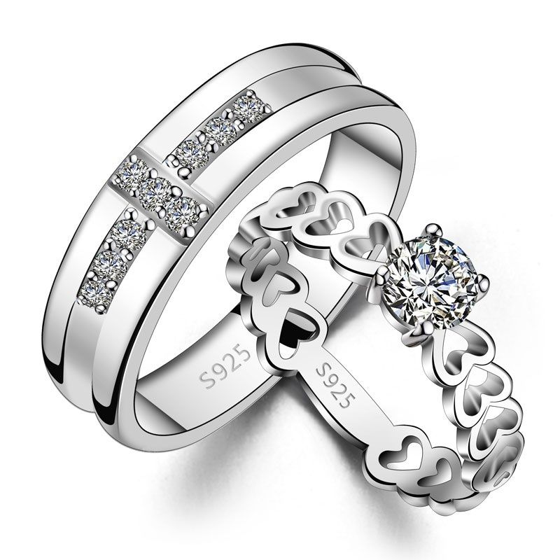 925 Silver Solitaire Cross and Hollow Heart Round Couple ...