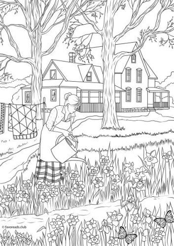 Country Spring Spring Flowers Adult Coloring Pages Printable Adult Coloring Pages