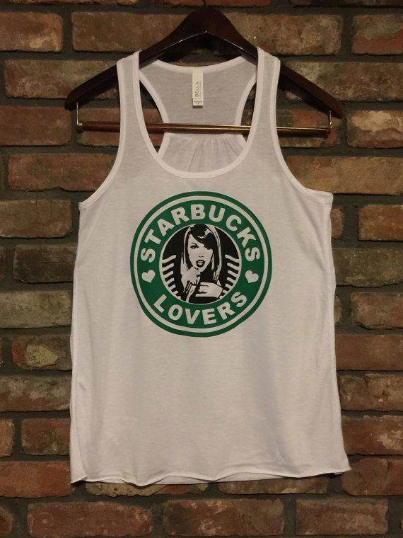 Starbucks Lovers Racerback Tank by Bella Canvas-White and Grey Available-Taylor Swift Fan