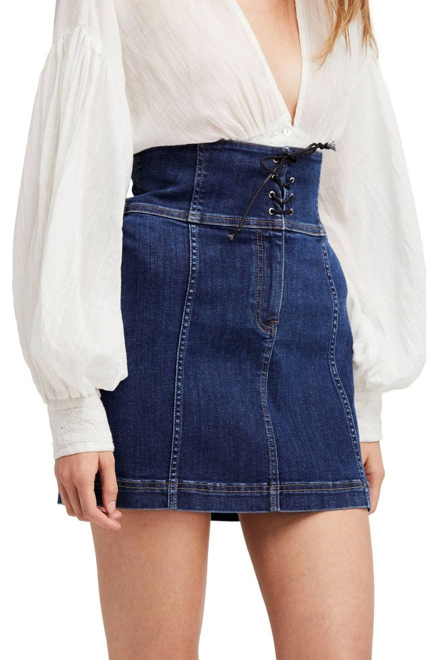 7dde7e7d921 Those Victorians knew a thing or two about transforming an everyday item,  like this classic stretch denim mini, with the allure of a lace-up closure.