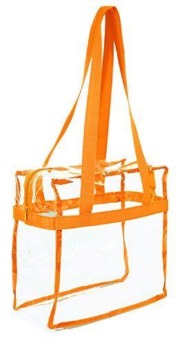 d678c314993  wantit Clear 12 x 12 x 6 NFL Approved Stadium Tote Bag with 35″ Handles –  Orange Trim