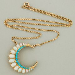 Victorian Opal Turquoise & Gold Crescent Pendant Necklace at 1stdibs $2295