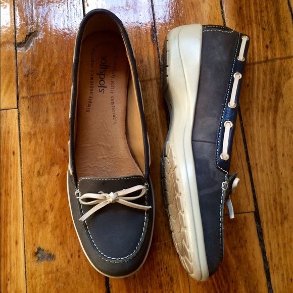Blue boat shoes Leather accent on the sides, blue with white bottoms Softspots Shoes