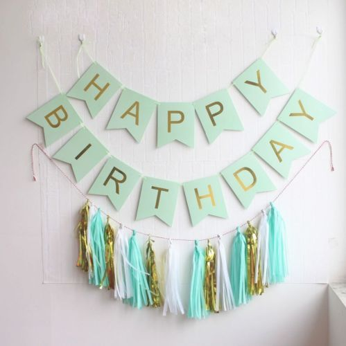 gold pink silver blue happy birthday balloon banner bunting party decorations