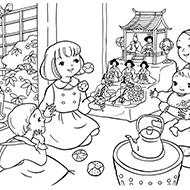 塗り絵 3月ひな祭り | japanese clothing traditional and modern