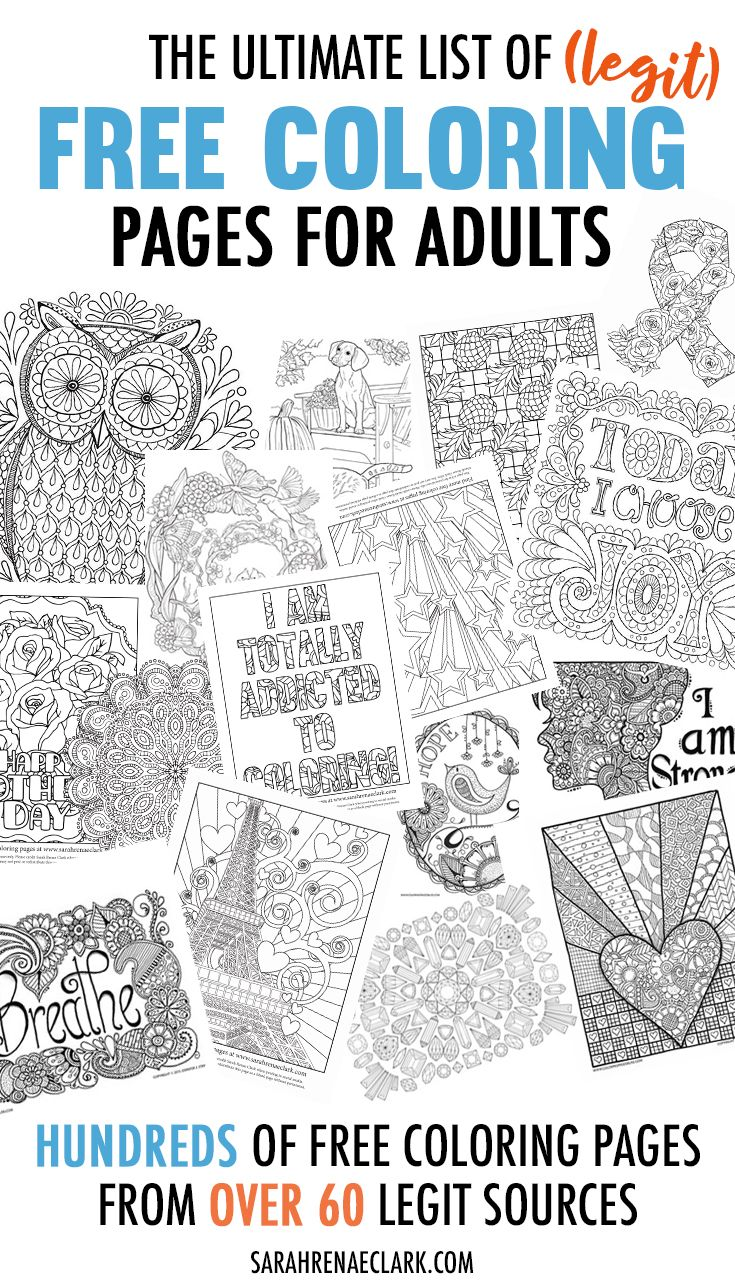The Ultimate List of (Legit) Free Coloring Pages for Adults | Dibujo