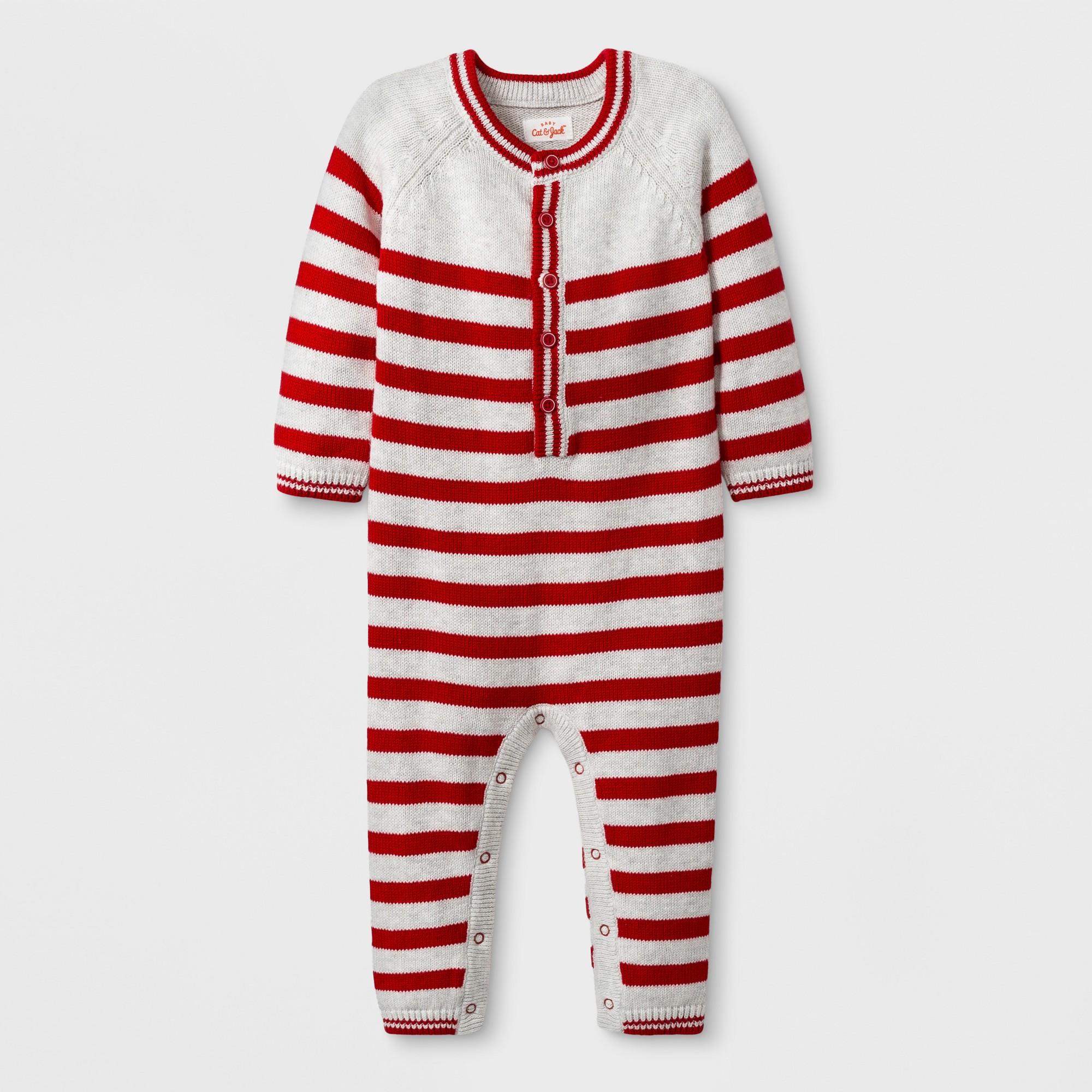 6fd5daa786ea Baby Boys  Holiday Sweater Stripe Romper - Cat   Jack Red Newborn ...
