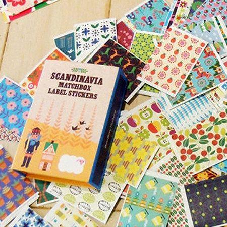 Scandinavia Label Stickers Matchbox  144 sheets di WonderlandRoom, $11.73