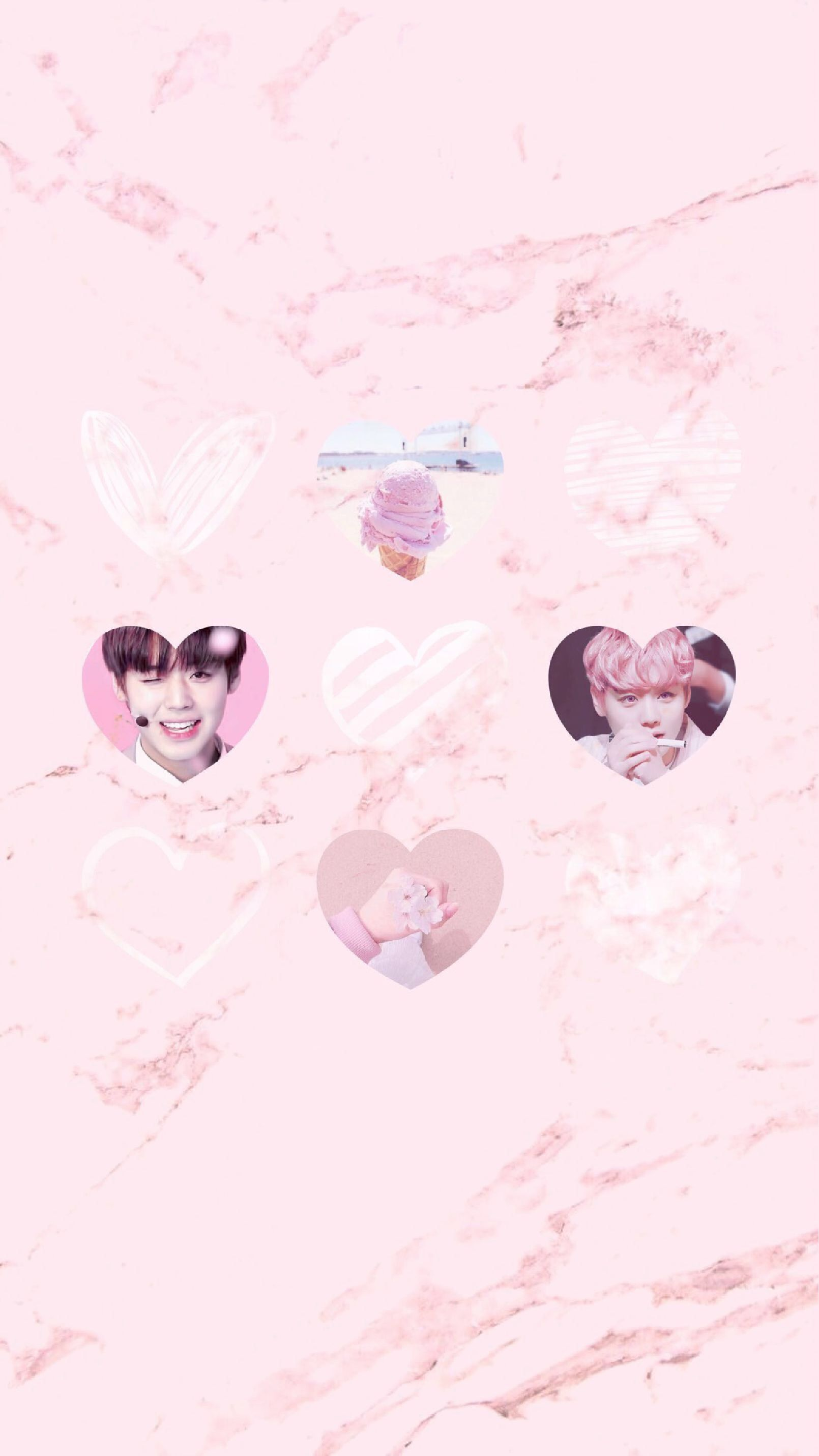 Wanna One Park Jihoon Pink Marble Iphone Wallpaper Pastel Heart