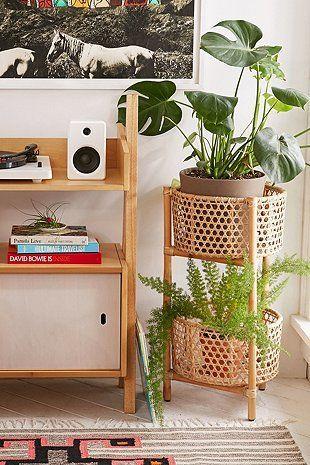 Möbel  Regale Tische Stühle Sofas  Betten Twotier rattan shelf
