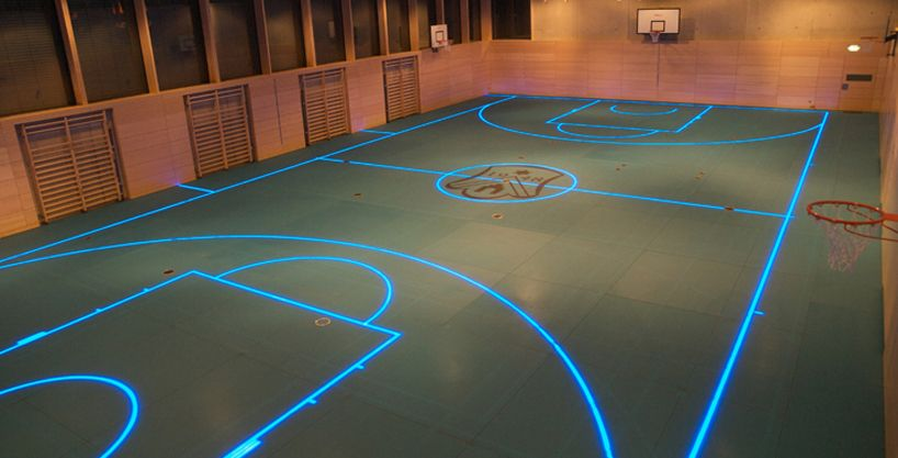 Changeable Led Gym Floor Boundary Lines By Asb Glassfloor Gym Flooring Indoor Sports Court Sport Court