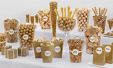 gold candy buffet 50 aniversario candy rh pinterest com gold candy buffet for wedding gold candy buffet jars