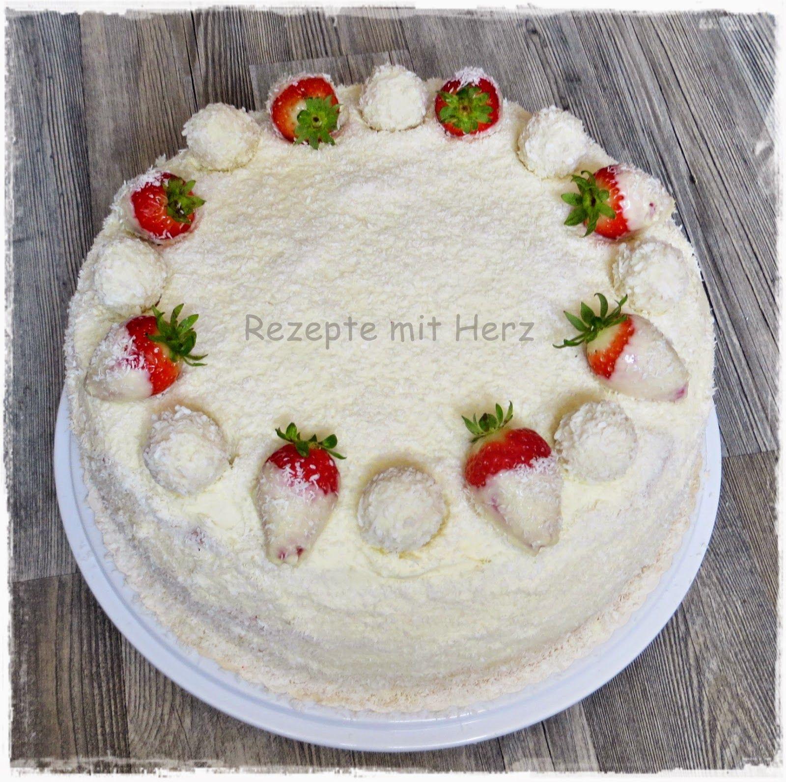 Rezepte mit Herz ♥ Erdbeer Raffaello Torte Feinschmecker Pinterest