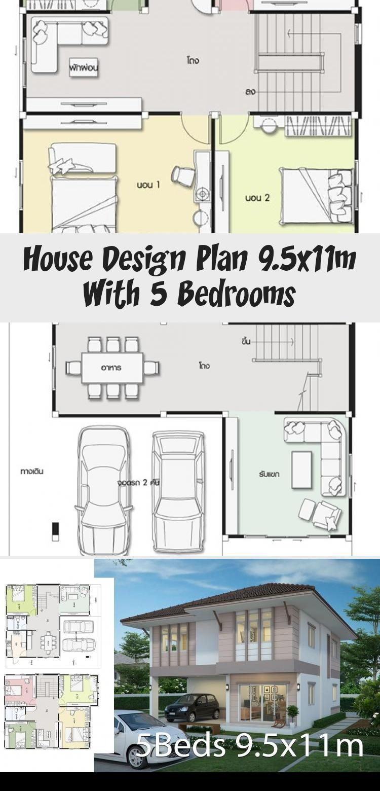 Design Plan 9 5x11m With 5 Bedrooms In 2020 Home Design Plans Modern House Plans House Plans South Africa