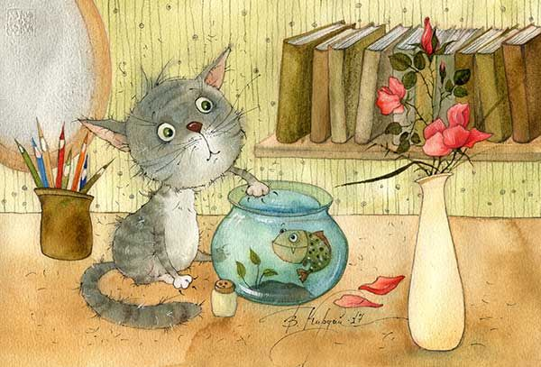 Кадмий оранжевый | Рисунки, Иллюстрации, Кошачий арт