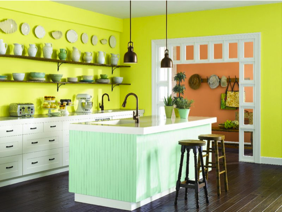Create A Bright Kitchen With Chartreuse Sw 0073 Walls