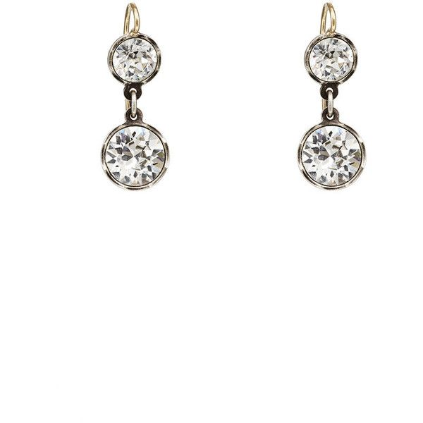 Womens Round Crystal Drop Earrings Stephanie Windsor Antiques K61Aw