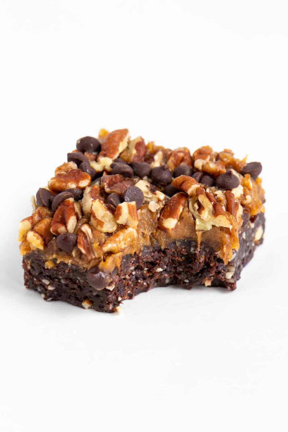 No Bake Turtle Brownies (Vegan, Gluten-Free)
