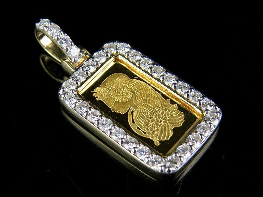 24k Yellow Gold 1g Lady Fortuna Bar Real Diamond Pendant Charm 7 10 Ct 1 2 Pendant Diamond Diamond Pendant