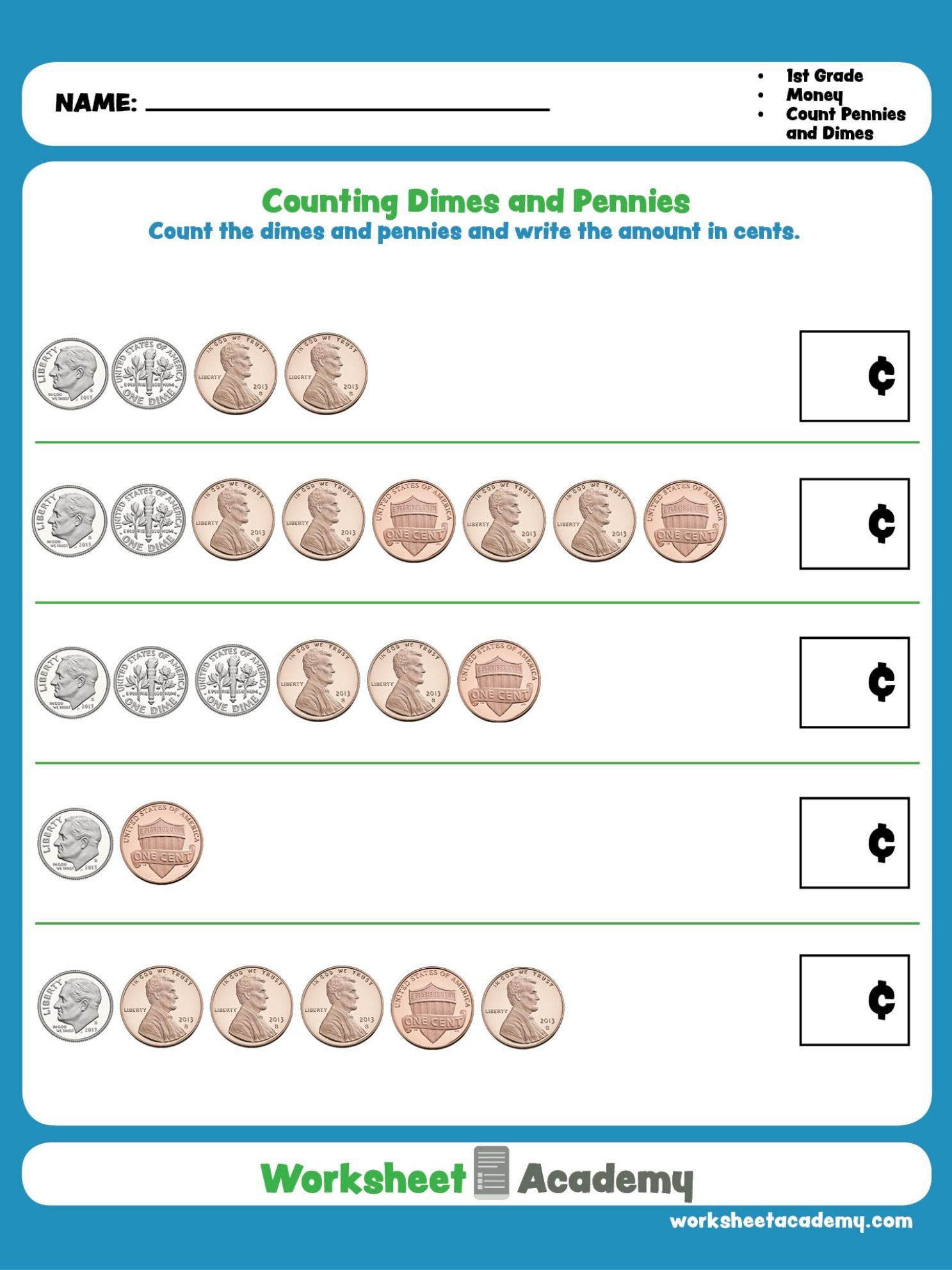 Practice Counting Dimes And Pennies This Education