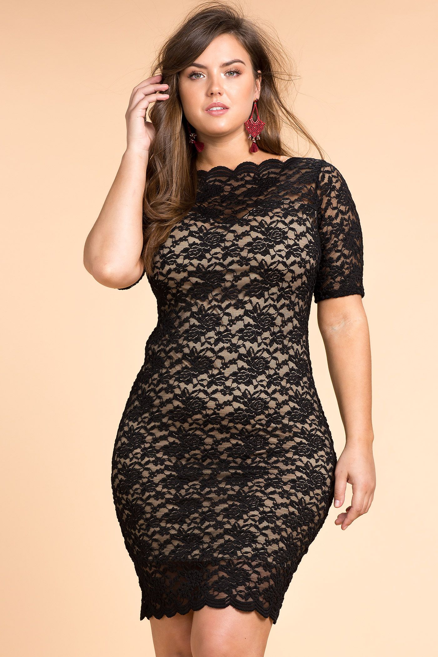 Womens Plus Size Bodycon Dresses Saundra Off Shoulder Lace