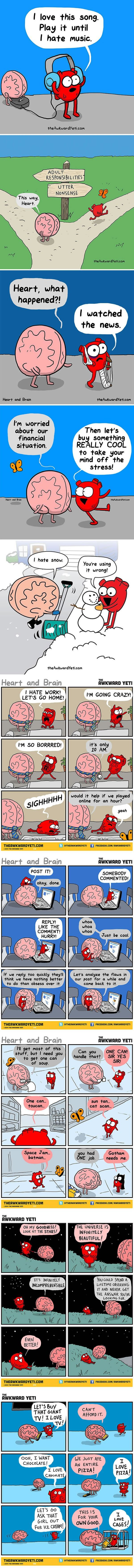 Heart Vs. Brain (By Awkward Yeti) BEST ---> this remainds me to two characters of a story I'm writing!
