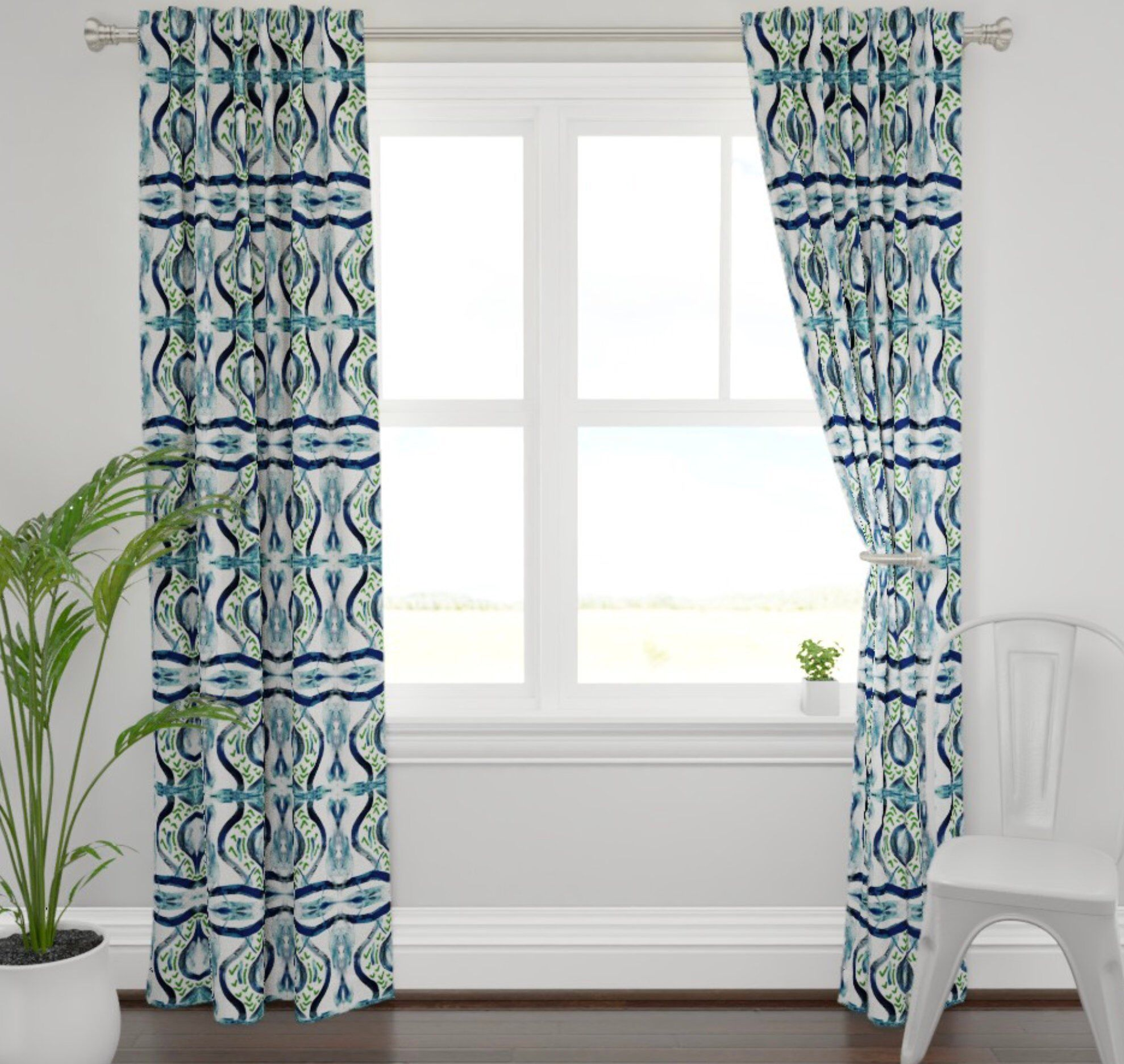 Blue Green Curtains Navy Teal White Curtains Blue Green Ikat
