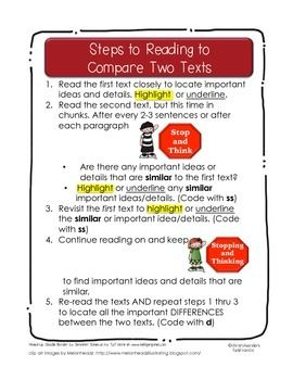 Steps To Reading To Compare And Contrast Two Texts Compare And Contrast Comparing Texts Compare Two Texts
