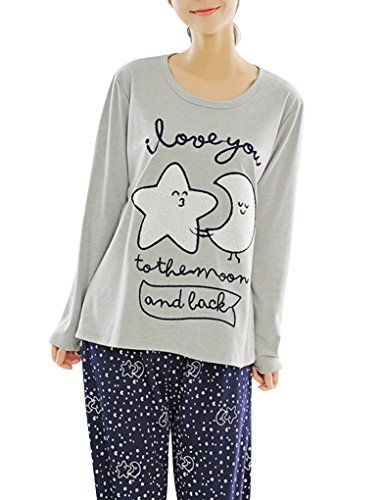 VENTELAN Women Loose Long Sleeve Sleepwear Nightgown Fashion Star Moon Pjs  Set    Check out the image by visiting the link. 0c365c286